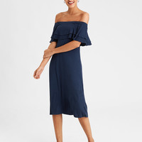 AE Knit Off-The-Shoulder Flounce Dress, Navy
