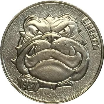 CARTOON BULLDOG Hobo Nickel 1937-D 3-LEGGED BUFFALO NICKEL COIN RARE