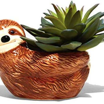 Streamline Ceramic Sloth Flower Planter Pot
