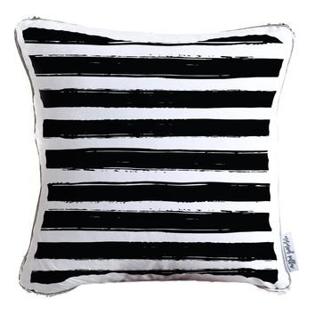 Black & White Paint Strokes Decorative Throw Pillow w/ Silver & White Reversible Sequins - COVER ONLY (Inserts Sold Separately)