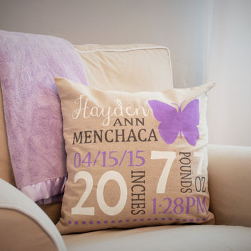 Butterfly Themed Personalized birth pillow cover