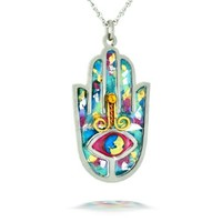 Seeka Blue Hamsa Necklace to Protect from the Evil Eye, Curated and sold by The Artazia Collection N2412B