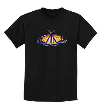 TooLoud Watercolor Monarch Butterfly Childrens Dark T-Shirt