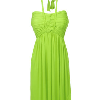 LE3NO Womens Flowy Summer Strapless Halter Dress (CLEARANCE)