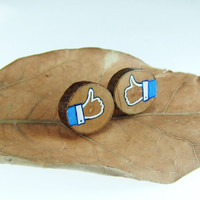 Earrings with Facebook Like Symbol Wood Earrings Wood by Voochee