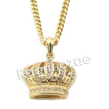 CREYA8C Mens Iced Out Brass Bling King Crown Pendant w/ 5mm 24' 30' Cuban Chain A02