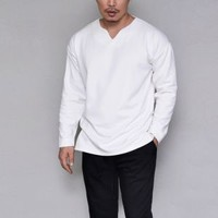 Tops :: Tees :: Loose Fit V Dress Slit-Tee 993 - GUYLOOK Men's Trendy Fashion Clothing Online