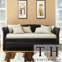 Tribecca Home TRIBECCA HOME Deco Dark Brown Faux Leather Daybed with Trundle