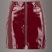 Girl on Fire Red Glossy Faux Leather Mini Skirt