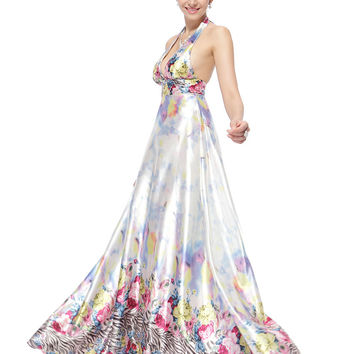 HE09644ZS  Sexy V-neck Halter Colorful Printed Satin Long Prom Dresses
