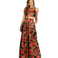 Amber- Black Two-Piece Homecoming Dress