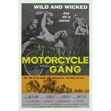 motorcycle gang poster Metal Sign Wall Art 8in x 12in