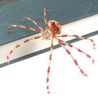 Christmas Spider Ornament - Beaded Christmas Spider -- Red/Gold