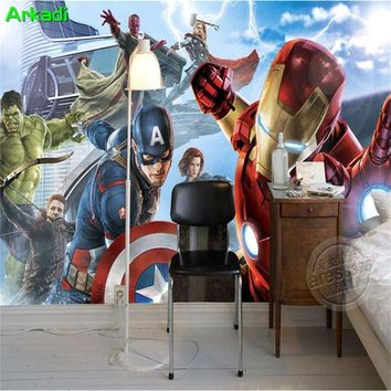 Custom 3D Captain America Avengers Boys Bedroom Photo Wallpapers Marvel Comics Kids Room Interior Design Room Decoration