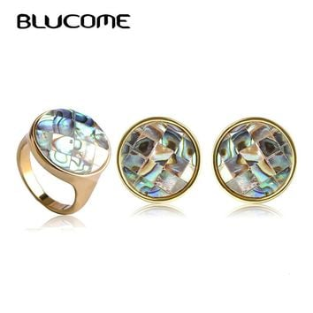 Blucome Dubai Jewelry Sets Round Grid Abalone Shell French Hooks Brincos Aretes Aneis Women Wedding Necklace Earrings Ring Set