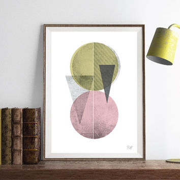 PRINT of Pink Abstract poster Triangles Circles poster Geometric art poster Minimal Modern Scandinavian Nordic Style inspired poster print.