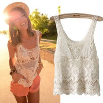Women Summer Hippie Bohemian Vintage Chic Crochet Lace Beige Sexy Tank Vest Top (Color: Beige) [7670104006]