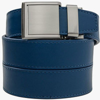 Blue Leather Belt with Square Buckle