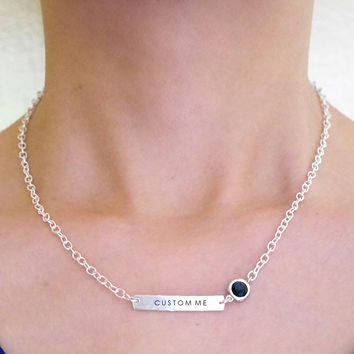 Sterling Tag Necklace with Glass Stone