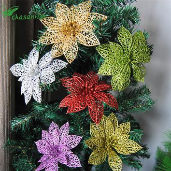 10Pcs Glitter Hollow Flower Decoration Flowers for Christmas Trees for New Year Christmas Decorations Wedding Party Decor noel,Q