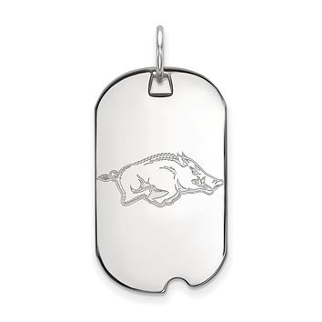 NCAA Sterling Silver U. of Arkansas Dog Tag Pendant Necklace