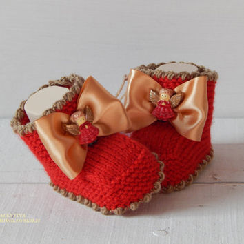 Hand knitted cute baby booties. Christmas Angel. Ready to Ship.