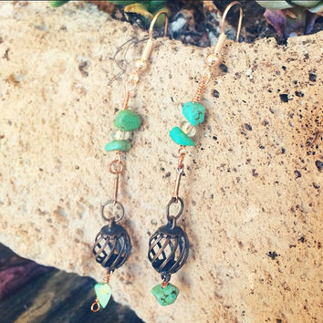 Vintage Brass Spindle + Raw Turquoise Stone and Glass Beads // Rose Gold Mixed Metal Earrings // Boho Handmade Jewelry