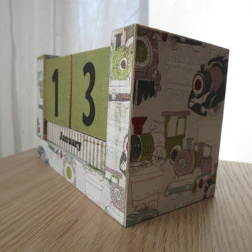 Perpetual Wooden Block Calendar - Old Time Choo Choo Trains - Grey Blue and Green