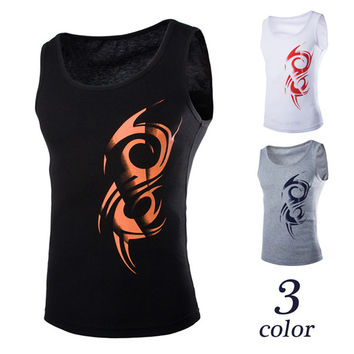 Tattoo Print Cotton Tank Top