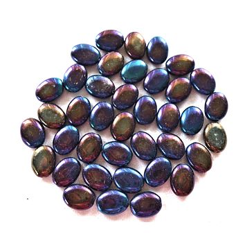 25 purple iris flat oval Czech Glass beads, 12mm x 9mm pressed glass beads C4525