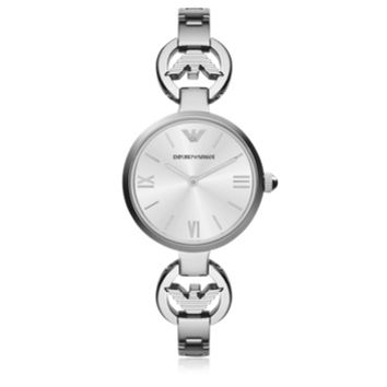 Emporio Armani Designer Women's Watches White Mother-of-Pearl Dial Stainless Steel Eagle Logo Women's Watch