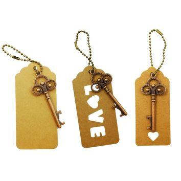 Wedding Souvenirs Vintage Crown Key Bottle Opener Keychain Metal Bronze Portable Openers Key Ring Gifts For Guest Y30