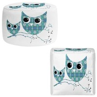 Foot Stools Poufs Chairs Round or Square from DiaNoche Designs by Susie Kunzelman Home Decor and Unique Bedroom Ideas - Owl Argyle Teal