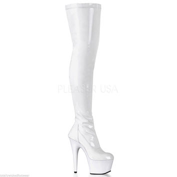"""Adore 3000 Glossy White Stretch Over The Knee Platform Thigh Boot 7"""" Heels"""