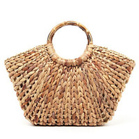 Straw Studios Wooden Handle Straw Satchel Bag | Dillard's Mobile