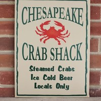 Chesapeake Crab Shack Wood Sign Handcrafted Beach House Wall Art