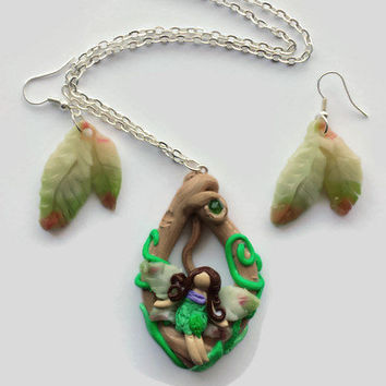 Mint Green Fairy Necklace - Tree Oval Pendant - Fairy Wing Necklace - Cute Garden Fairy - Polymer Clay Jewelry