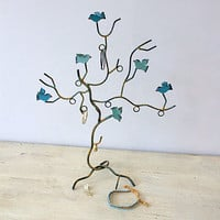 Teal Bird Jewellery Stand