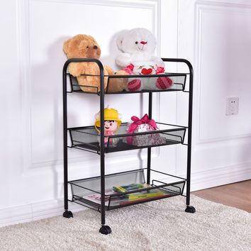Giantex 3 Tier Mesh Rolling File Utility Cart Home Office Kitchen Storage Basket Modern Portable Trolley Cart HW54961BK