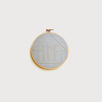 """HOME  - Gray-Blue and Cream 5"""" Embroidery Hoop"""