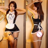 women sexy lingerie hot lace cosplay French Maid uniform sexy costume babydoll erotic lingerie lenceria sexy underwear sex toy