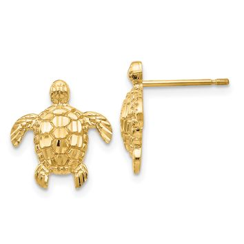 14k Yellow Gold Polished And Textured Sea Turtle Post Stud Earrings