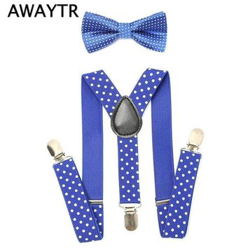 AWAYTR 2Pcs Baby Boys Suspenders Kids New Elastic Adjustable Clip-on Bowtie Suspenders Set Kids Polka Dot Suspender for Wedding