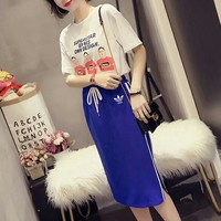 """Adidas"" Women Sport Casual Fashion Letter Character Print Short Sleeve T-shirt Skirt Set Two-Piece"