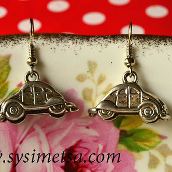 VW Beetle Earrings - Antique Silver Car Charm Earrings - Nickel Free