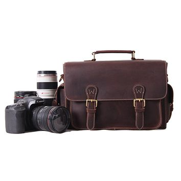 BLUESEBE UNISEX HANDMADE GENUINE LEATHER DSLR CAMERA SATCHEL/BAG 6919