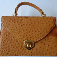 DAVIDO GRACIA Italy Tan Cognac Color Ostrich Skin W Leather Lining Purse Handbag