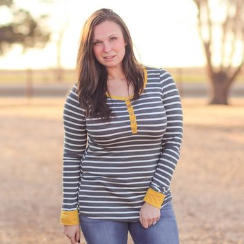 Hale Striped Henley Top in Charcoal Mustard