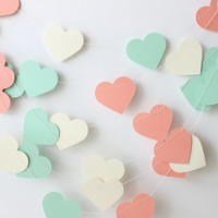 Wedding Garland, Mint Green, Coral & Cream, Heart Garland, Paper Garland 10 ft - Bridal Shower Decor, Heart Photo Prop, Heart Rustic Wedding