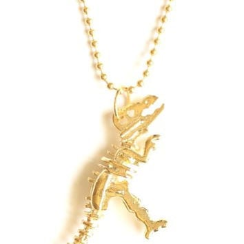 Tyrannosaurus Rex Fossil Dinosaur Skeleton Necklace Gold Tone NC43 Statement Fashion Jewelry